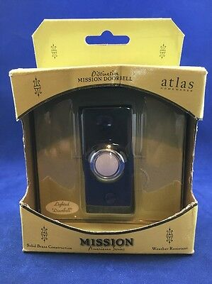 Aged Bronze Mission Lighted Button Doorbell Atlas Homewares DB644 - NIB