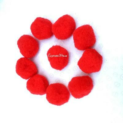 Pom Poms 28mm RED (2.8cms) x 10 pcs Valentine's Craft Accessories