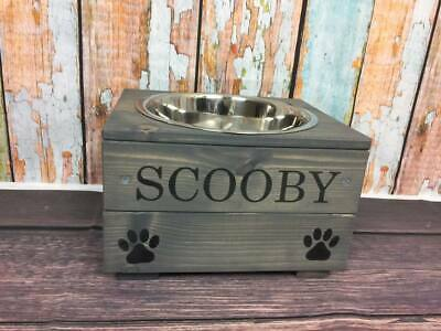 PERSONALISED RAISED DOG PET BOWL in wood or grey (1 bowl)