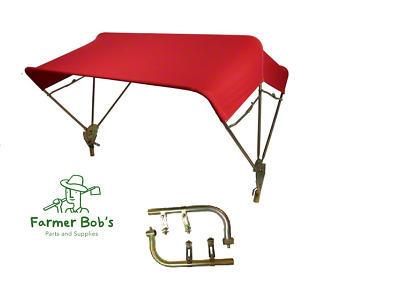 """International Case Umbrella Buggy Top 3 Bow 40"""" Red Complete w/ Fender Mount"""