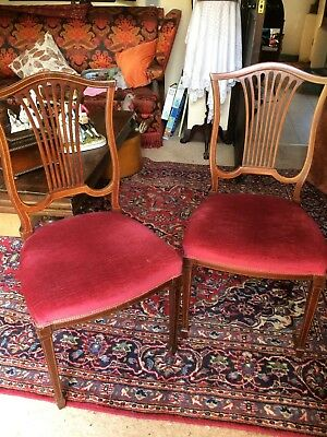 Pair of Edwardian inlaid mahogany dinning chairs
