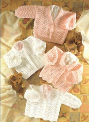 Knitting Pattern Baby's DK Scallop Edged Cardigans 4 Styles!!  41-66 cm (164)