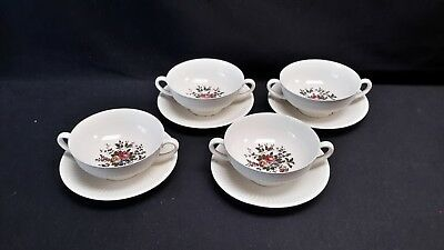 Wedgwood England EDME Set of 4 Cream Soup Bowls & Saucers