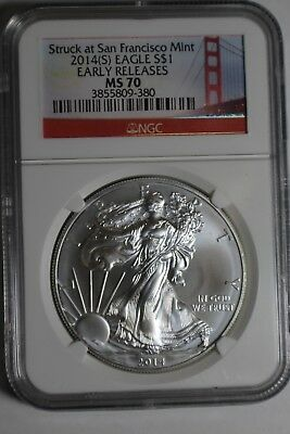 2014 (S) Silver Eagle NGC MS70 Struck at San Francisco Early Releases #380