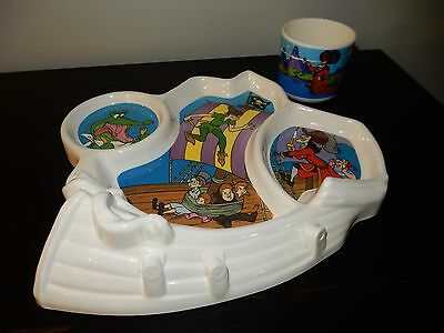 Vintage Disney Peter Pan Childs Dimensional Pirate Ship Plate with Mug