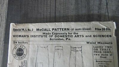 1908 MCCALL PATTERN W.I. No. 2 Skirt WOMANS INSTITUTE ARTS SCIENCES EXTRA RARE!