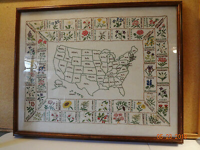 Vintage Framed Hand Embroidered Map of United States with State Flowers