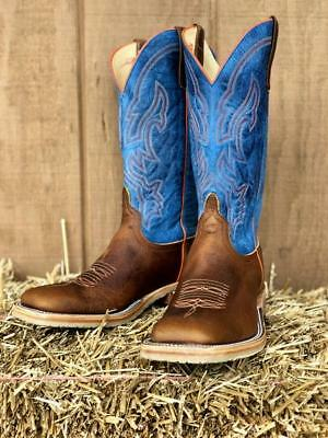 c0bbd8f6a2f ANDERSON BEAN MEN'S Briar Mad Dog Blue & Tan Square Toe Western Boots S3000