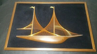 Vintage Framed Mid Century String Art Copper Wire Nail Sail Boat