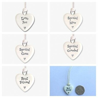 East Of India Tiny Porcelain Hanging Heart White Ceramic Gift Tag Love Token