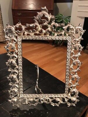 Antique Vintage Ornate Metal Die Cast Brass Metal Picture Frame Silver Color