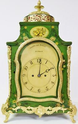 Rare Antique 18thc English Green Lacquered & Bronze Twin Fusee Bracket Clock