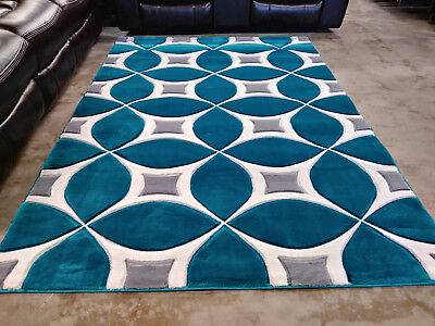 Modern Rug Contemporary Area Rug 5x8 Turquoise Black White