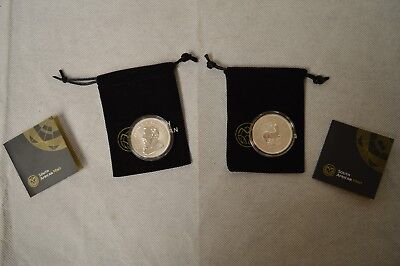 (2) 2017 South African 1 OZ Silver Krugerrand's - With bags/COA