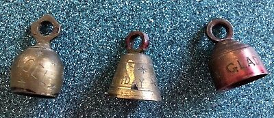 Old Antique or Vintage Small Brass Christmas Bells-Three- 1 1/2 to 2 inches