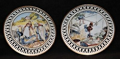 Pair Of B & G Carl Larsson Reticulated Edge Plates