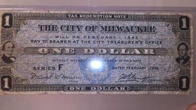 $1 1942 City Of Milwaukee Tax Redemption Note Series F No.49688