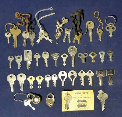 Vintage Lot of 40 Small Keys for Locks, Luggage & More with 2 Locks, 1 with Key