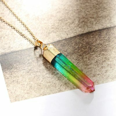 Crystal Quartz Chakra Natural Stone Gold Plated Pendant Necklace Rainbow
