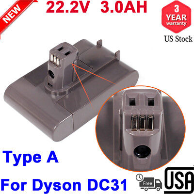 3.0AH 22.2V Lithium-ion Vacuum Cleaner Battery For Dyson DC31 DC45 DC35 Type A