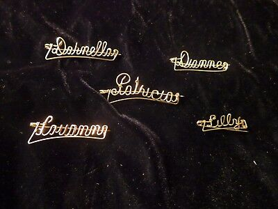 Antique Hand Crafted 14kt Gold Filled Name Pin