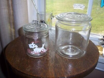 Glass Jars with Lids Baby Boric Acid (small chip inside lid) Larger Jar Vintage