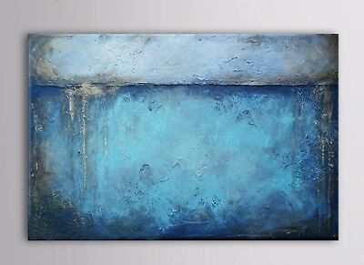 Modern Abstract Blue Hand-Painted Art Oil Painting Home Decor Wall On Canvas