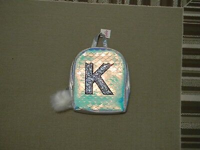 Nwt Justice Girls Initial K Mermaid Scale Mini Backpack