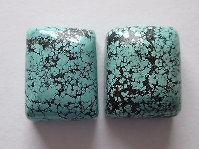 47.70 cts of Natural Chinese Hubei Turquoise Cabochon Gemstones, Pair, # DA 015
