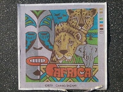 """Africa"" Vintage from 1979 painted needlepoint canvas 14 by 14 square finished"