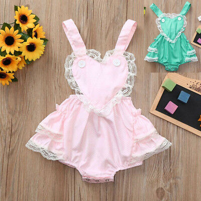 Toddler Infant Newborn Baby Girls Lace Bodysuit Sunsuit Romper Jumpsuit Outfit