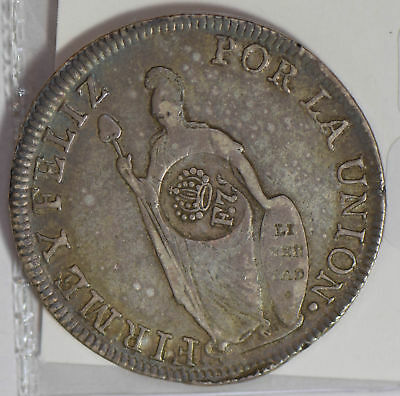 Philippines 1833 Peso silver C/S on chile 8 Reales nice original surface P0227 c