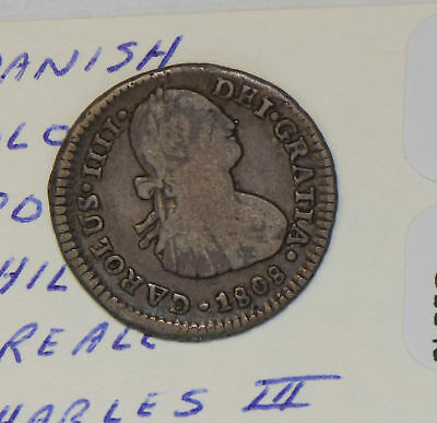Chile 1808 FJ Real silver Charles III C0349 combine shipping