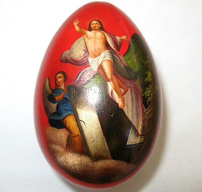 Rare Antique Imperial Russian Hand painted lacquer Egg Icon by Lukutin factory.