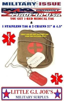 Stamped Military ID Dog Tag & Red Medical Tag Special Forces Ranger Navy Seals