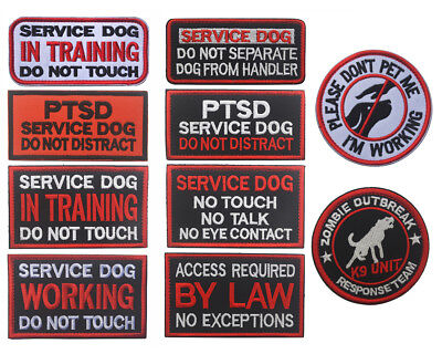Embroidered SERVICE DOG Patch Hook Loop Therapy Patches Vest Fastener Badge