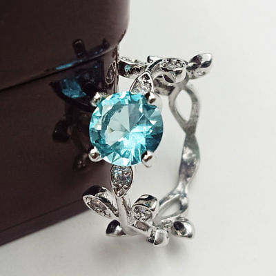 Silver Stainless Steel Crystal Rhinestone Leaves Ring Hot Girls Engagement Party