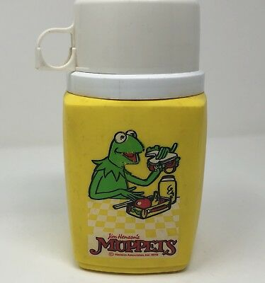 Vintage Jim Henson Muppets Kermit Frog 8 Ounce Plastic Lunchbox Thermos 1979