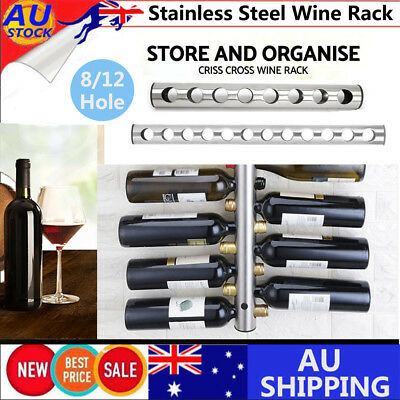 8 12 Hole Stainless Steel Wall Mounted Kitchen Home Bar Holder Wines Shelves