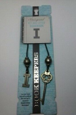 Book mark, Key and Letter Bookmark, Letter I, Antique Boutique Weighty Metal