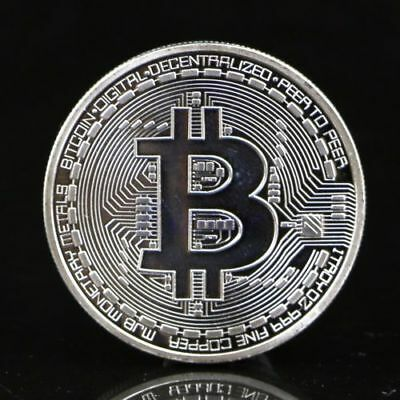 Silver Plated Bitcoin Coin Art Collection Physical Coin Collection Gift BTC 1Pc