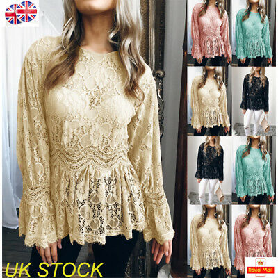 UK Womens Long Sleeve Lace Blouse Ladies Casual T-shirt Summer Tops Size 6-18