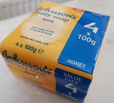 Johnsons Baby Soap 4 x 100g Bars (With bably Oil & Honey)