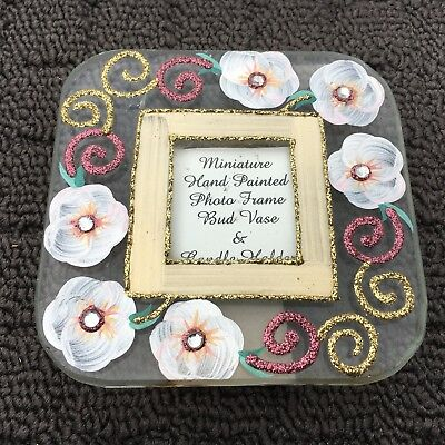 "GLITTERY FLOWERS ""Pink & Gold"" Miniature Hand Painted Decorative Photo Frame"