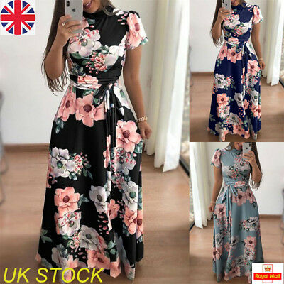 UK Womens Holiday Floral Long Dress Ladies Casual Maxi Dress Party Size 6-16