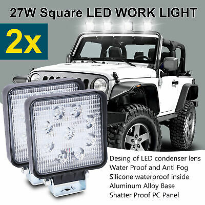 2x 27W Square LED Work Light Flood Reverse Lamp 4WD Offroad Truck Ute