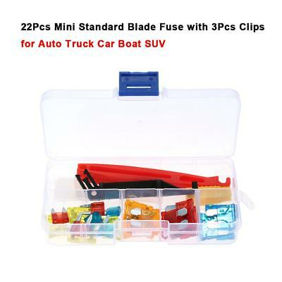 22Pcs Mini Standard Blade Fuse with 3Pcs Clips for Auto Truck Car Boat SUV Z1B6