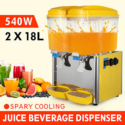 9.5Gal Commercial Juice Beverage Cold Refrigerated 2 Drink Dispenser Machine
