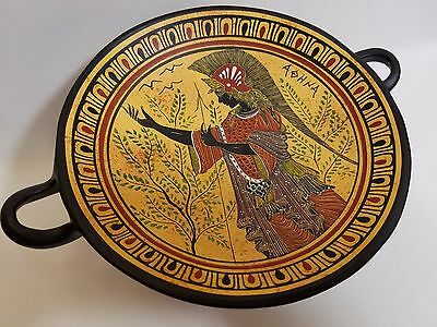 Athena Greek Goddess Rare Hellenic Ancient Art Pottery Tray Kylix