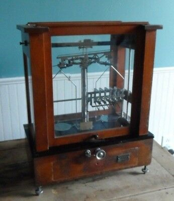 Antique Apothecary Chemist & Balance Scale, Wood & Glass Case